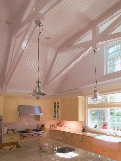 Exposed Beam Ceiling Home Design Ideas, Pictures, Remodel - Light Colored Kitchen Cabinets