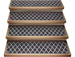 Set Of 15 Attachable Indoor Carpet Stair Treads Moroccan Trellis | Gray Carpet Stair Treads | Black | Set | Wood | Grey Patterned | Fitting Loop Pile Carpet