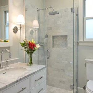 75 Popular Small Bathroom Design Ideas   Stylish Small Bathroom     Corner shower   small transitional gray tile and stone tile marble floor  corner shower idea in