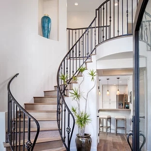 75 Beautiful Curved Staircase Pictures Ideas September 2020 | Round Stairs Railing Design | Metal | Silver | Loft | Stainless Steel | Brown
