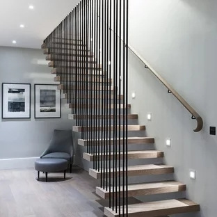 75 Beautiful Wood Stair Railing Pictures Ideas Houzz   New Banister For Stairs   Stainless Steel   Traditional   Oak   Contemporary   Indoor