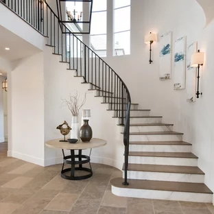 75 Beautiful Curved Staircase Pictures Ideas September 2020   Round Staircase Designs Interior   Classic   Wooden   Elegant   Showroom   Round Shape Round