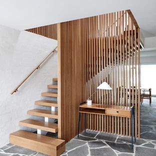 75 Beautiful Mid Century Modern Staircase Pictures Ideas | Mid Century Stair Rail | Basement | Fixer Up | U Shape | Plywood | Hand
