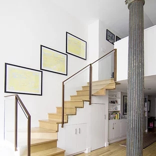 Glass Staircase Railing Houzz | Wooden Handrail With Glass | Oak | Square | Marble | Landing | Nautical Wood