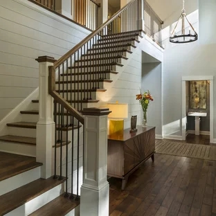 75 Beautiful Staircase Pictures Ideas September 2020 Houzz | Home Outside Steps Design | Diy | Front | Curved Front | Basic Outdoor | Deck