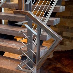 Custom Wood Stair Treads Houzz   Custom Wood Stair Treads   Solid Wood   Reclaimed Wood   Red Oak Stair   Slate Tile   Los Angeles