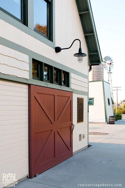 Sliding Red Barn Door Traditional Exterior Los
