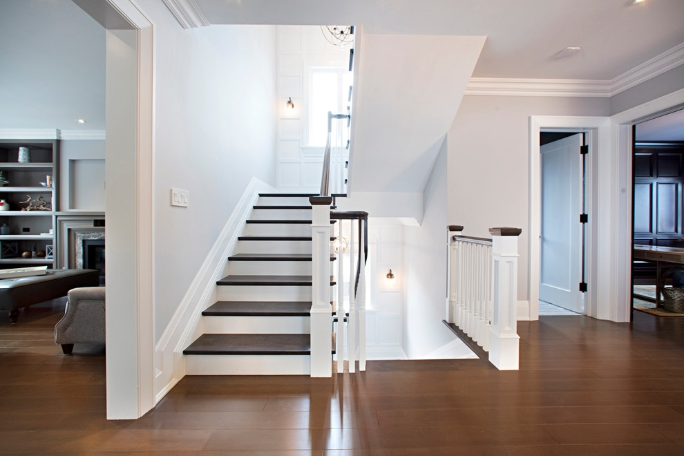 Classic Two Tone Transitional Staircase Toronto By Amber | Two Tone Wood Stairs | Timber | Partially Carpeted | White Back | Diy | Rug