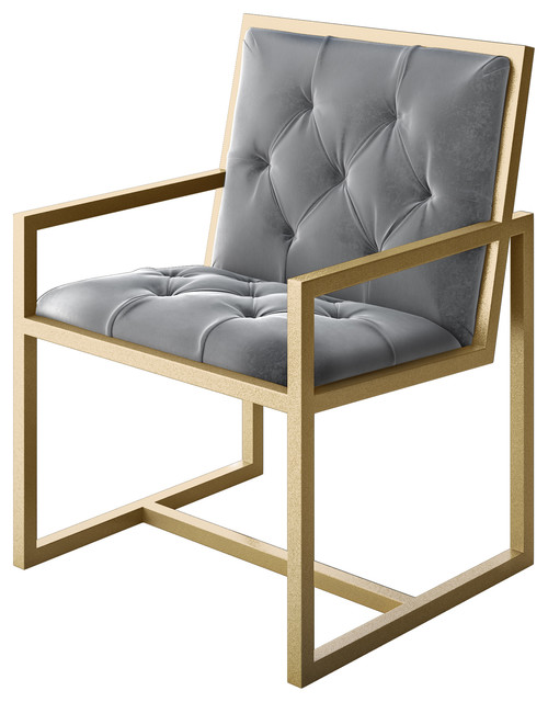 Grey And Gold Accent Chair