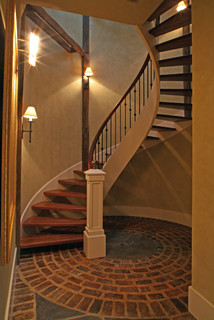 Circular Brick Pattern In Floor Accents Spiral Stair