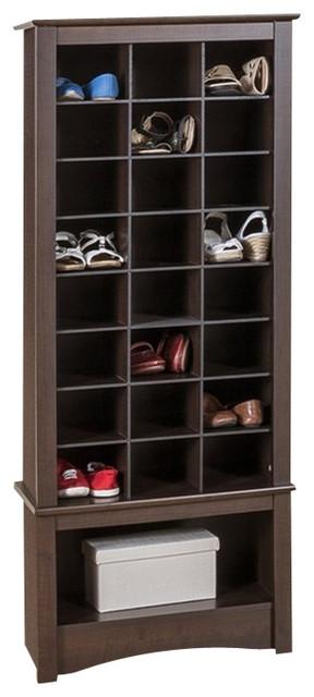 Prepac Tall Shoe Cubbie Cabinet In Black Transitional