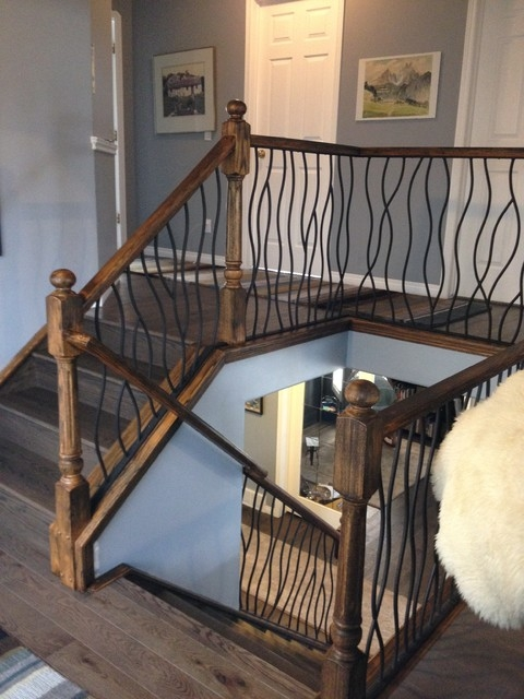 Bent Iron Design Interior Railing With A Distressed Wood   Rustic Stair Railings Interior