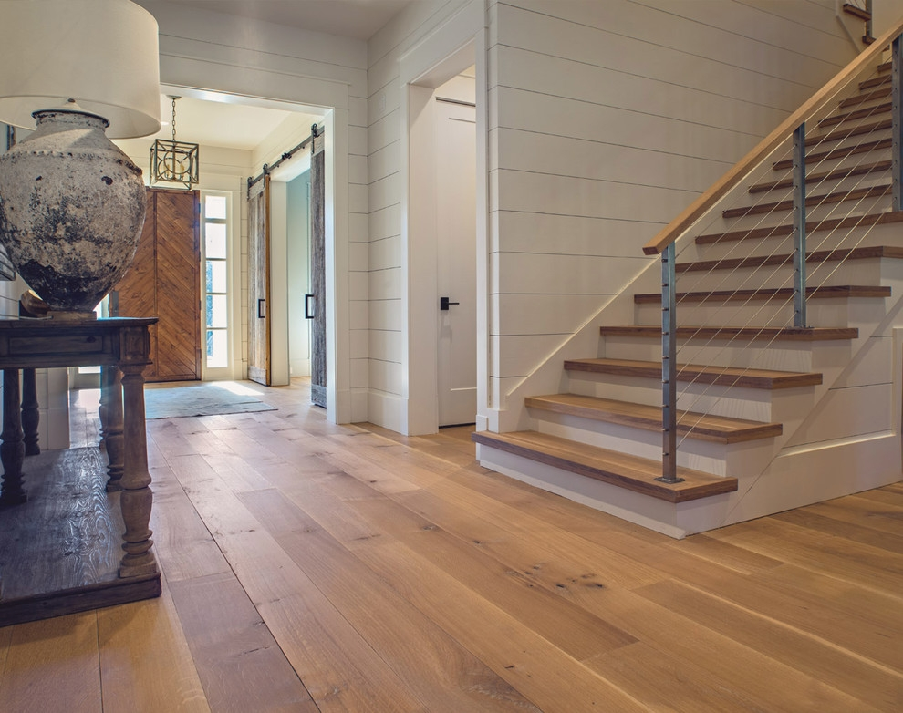 Wide Plank White Oak Wood Floor In Nashville Tn With Matching   Cost Of Oak Stair Treads   Wood Flooring   Stair Case   Hardwood Flooring   Hardwood Lumber   Laminate Flooring