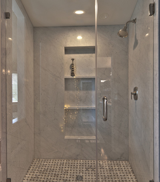 Carrera Marble Shower Traditional Bathroom San