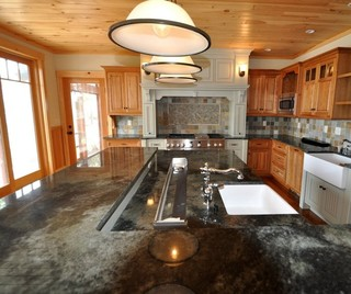 Large Multi Level Island Farmhouse Kitchen Boston