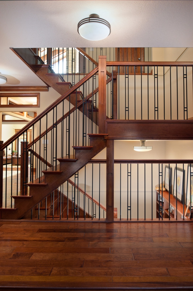 Cherry And Jatoba Stair Craftsman Staircase Edmonton By   Craftsman Stair Railing Designs   Homemade   Simple 2Nd Floor Railing Wood Stairs Iron Railing Design   Entryway Stair   Plain Traditional Stair   Floor To Ceiling