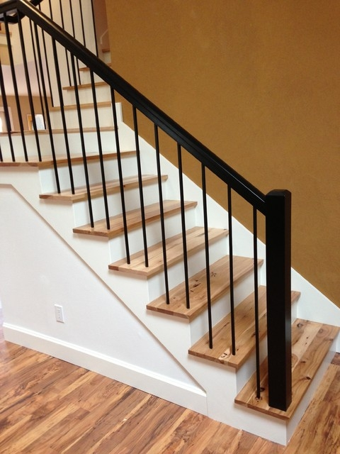 Rustic Hickory Stairs Contemporary Staircase | Stair Banisters For Sale