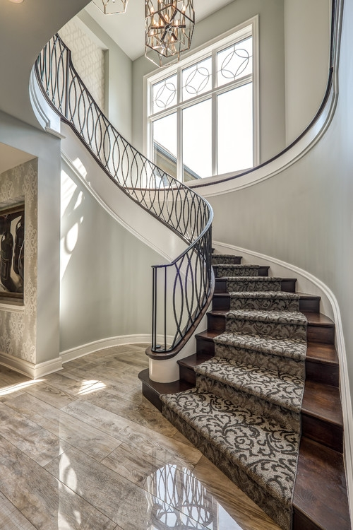 2020 Carpet Trends 21 Eye Catching Carpet Ideas Flooring Inc | Carpeting For Stairs Residential | Spiral Stair | Communal Stairway | Commercial | Houzz | Waterfall Stair