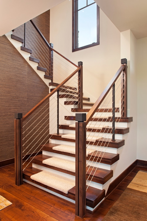White Corian Staircase Style Stair Materials Modern Stair | Dark Wood Stairs With White Risers | Wall | Beautiful Wood | Wooden | Modern | Floor