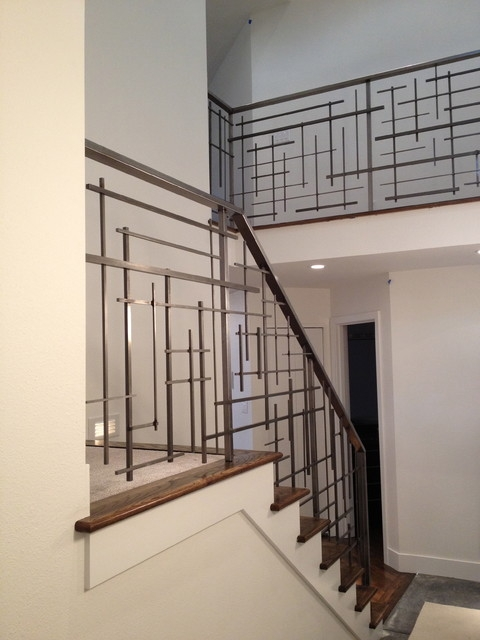 Custom Railing Contemporary Staircase Seattle By   Modern Metal Stair Spindles