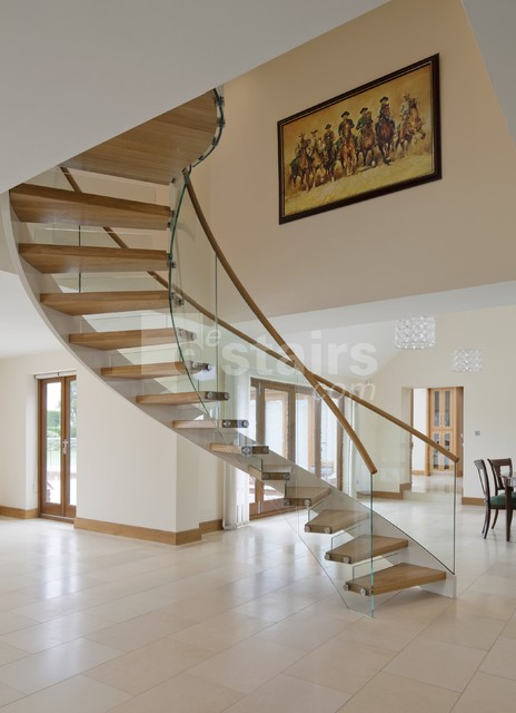 Floating Helical Staircase Contemporary Staircase