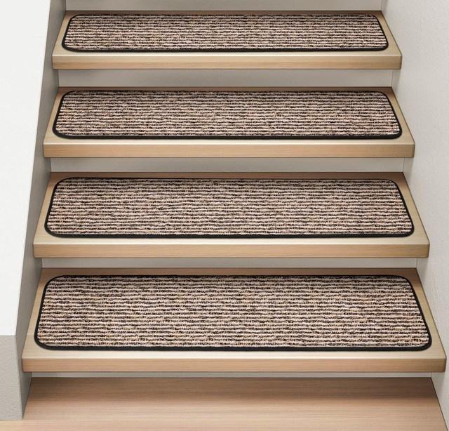 Set Of 12 Attachable Carpet Stair Treads Black Ripple | Black Carpet Stair Treads | Bullnose | Padded | Stair Runner | Staircase | Non Slip Stair Tread