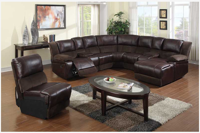 Brown Leather Sectional Chaise And Recliner