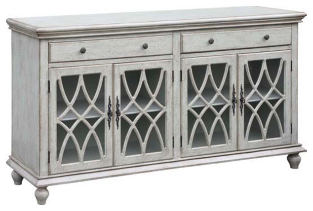Paxton 2 Drawer 4 Geometric Glass Door Textured Pale Gray