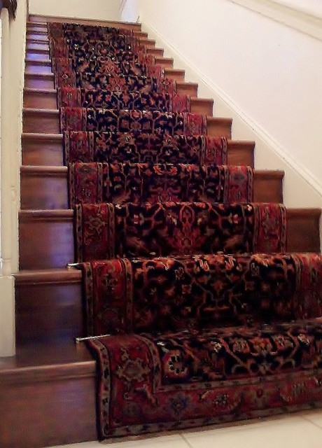 Traditional Hand Knotted Stairway Runner Installation Eclectic   Oriental Rug Runners For Stairs   Design Stair   Basement Stairs   Area Rugs   Bucks County   Salem Ma