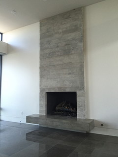 Board Formed Concrete Veneer Tile Fireplace Surround And