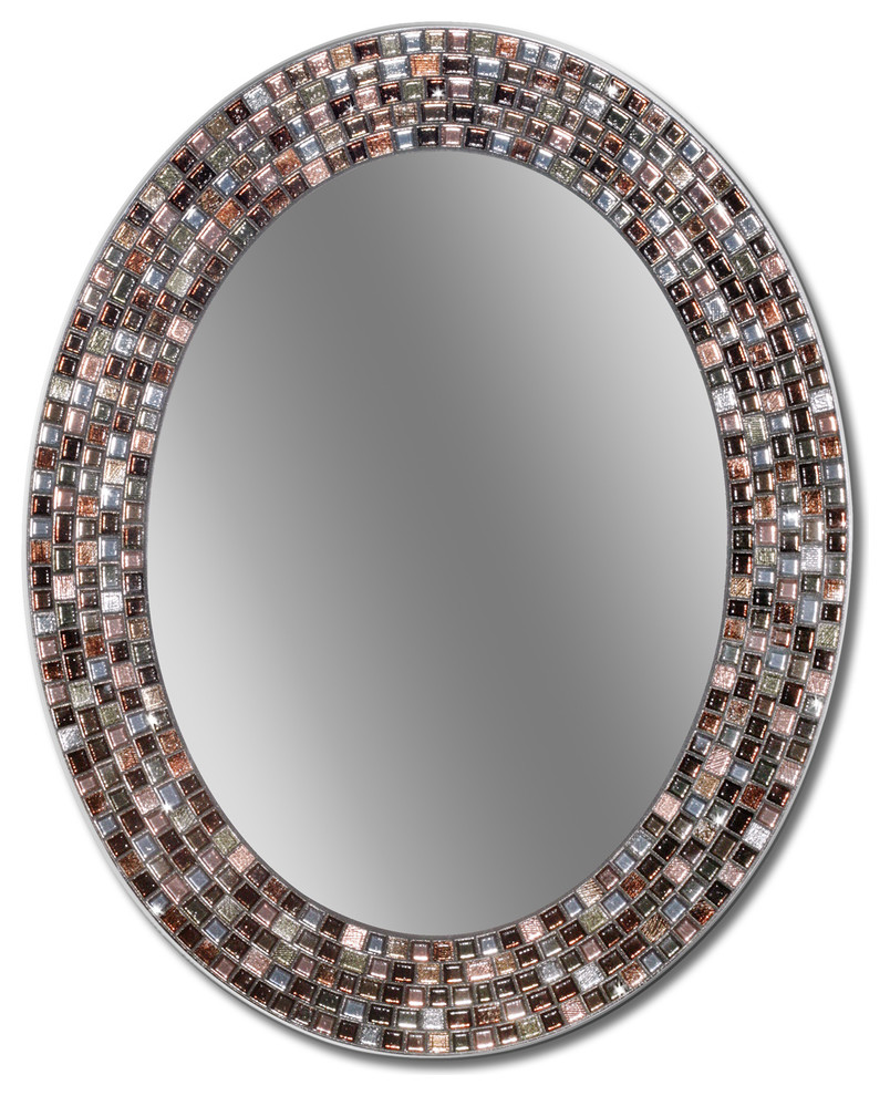 23 X29 Frameless Copper Oval Mosaic Wall Mirror Contemporary Wall Mirrors By Head West Inc Ds Mikansei Info
