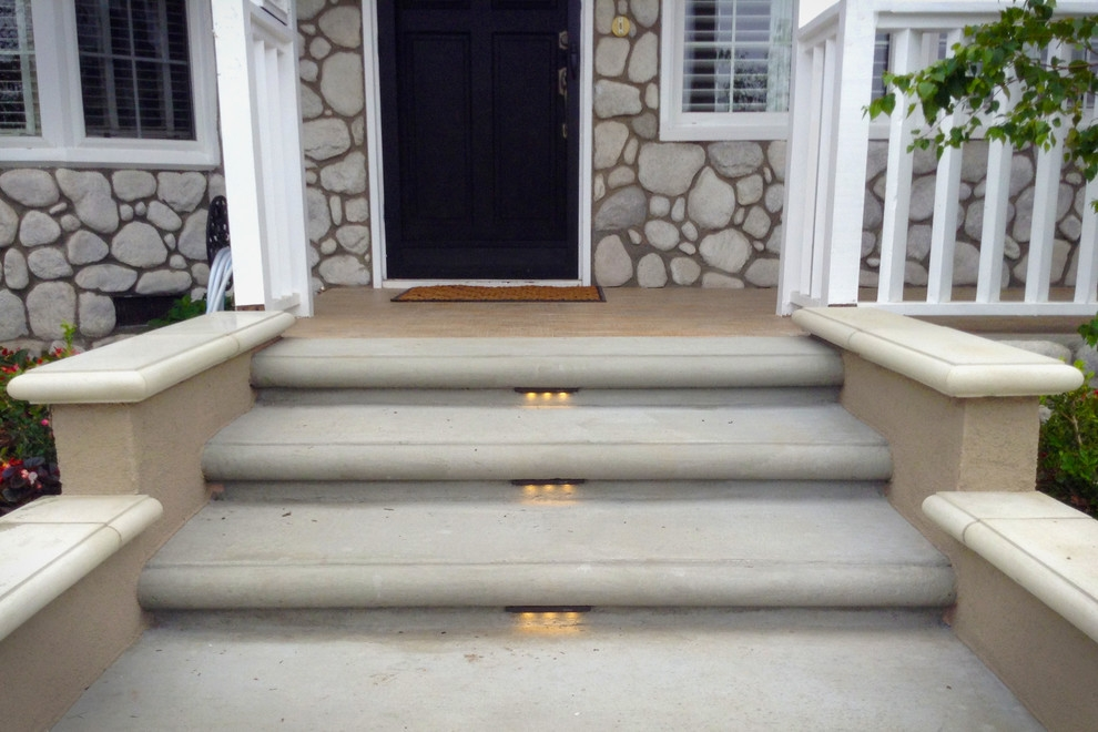 Front Porch Steps With Led Step Lights Traditional Porch   Home Front Stairs Design   Porch Attached Horizontal Staircase Tower   Parapet Wall   Sitout Step   Front Window   Interior