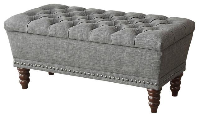 Gray Tufted Storage Ottoman