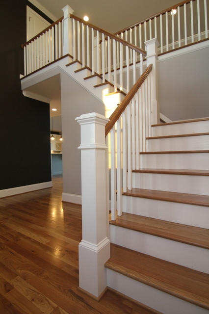 Two Story Foyer Contemporary Staircase Raleigh By Stanton | Two Story Staircase Designs | Entryway | Stunning | Glass | Two Storey House | 2 Story