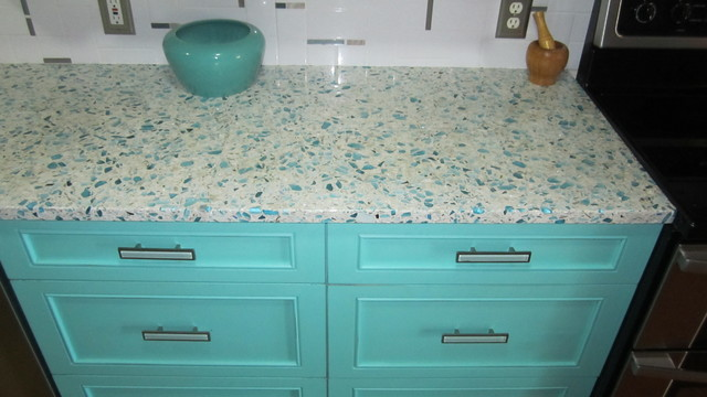 Floating Blue Vetrazzo And Teal Cabinetry Eclectic