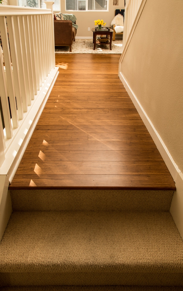 Bamboo Flooring Carpeted Stairs San Jose Ca Hall San   Carpeted Stairs With Wood Floors   Charcoal Grey   Upstairs   White   Diy   Luxury