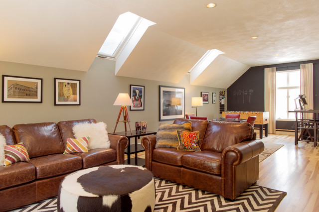 Game Room Makeover Contemporary Family Room Boston