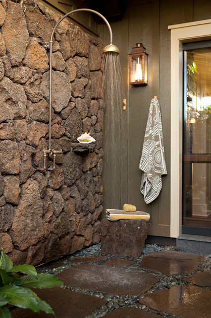 Rustic Tropical Outdoor Shower