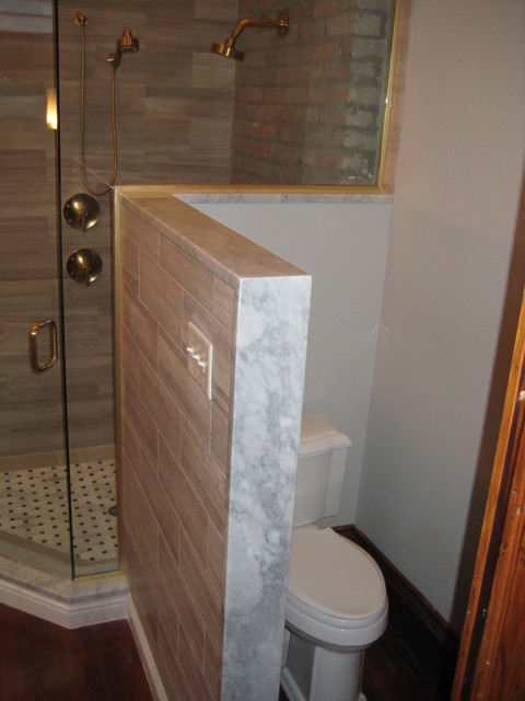 Master Bath Vanity Shower Threshold And Kneewall Cap