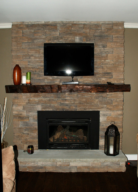 Rustic Yet Refined Barn Wood Mantel Contemporary
