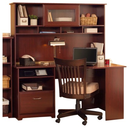 Bush Cabot 60  Corner Computer Desk with Hutch in Harvest Cherry     Bush Cabot 60  Corner Computer Desk with Hutch in Harvest Cherry