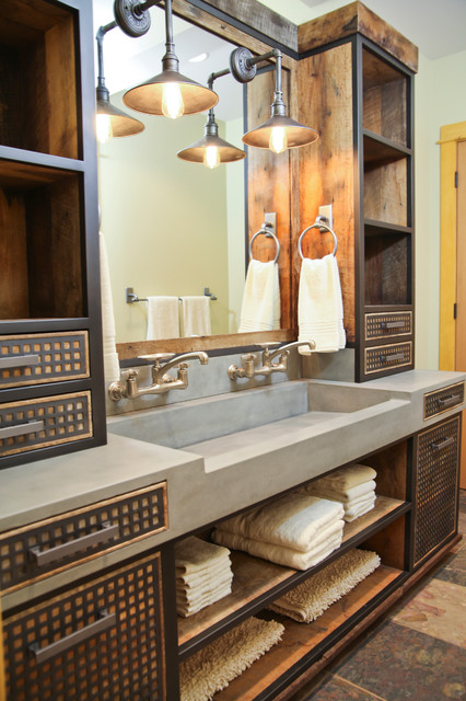 Da Concrete Sink And Custom Vanity Industrial Bathroom