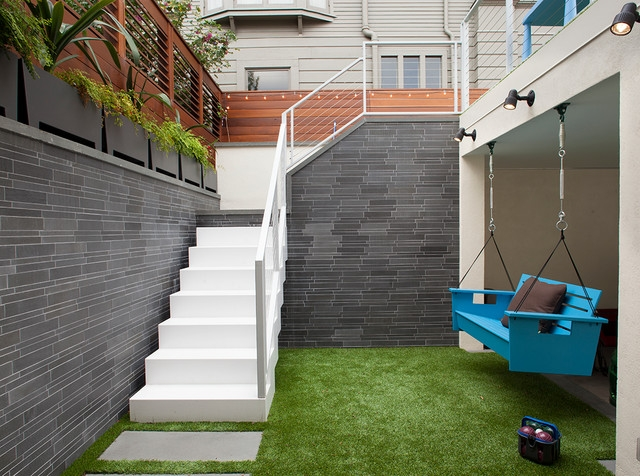 Outdoor Stairs And Hanging Bench Contemporary Patio   Outside Stairs For House
