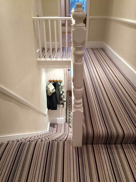 Grape Grey Stripe Stair And Hallway Carpet Contemporary | Grey Carpet Stairs And Landing | Teal | Open Plan | Pinterest | Commercial | Wall