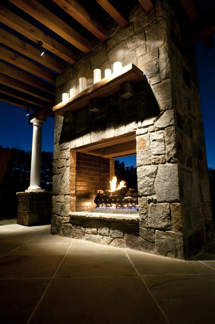 Double Opening Stone Fireplace Traditional Patio