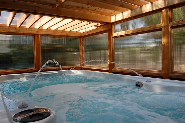Enclosed Cedar Pergola For Outdoor Swim Spa Traditional
