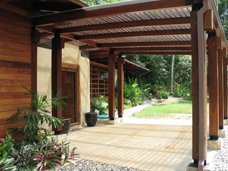 Is This Plastic Nova Roof Over The Pergola Wood For