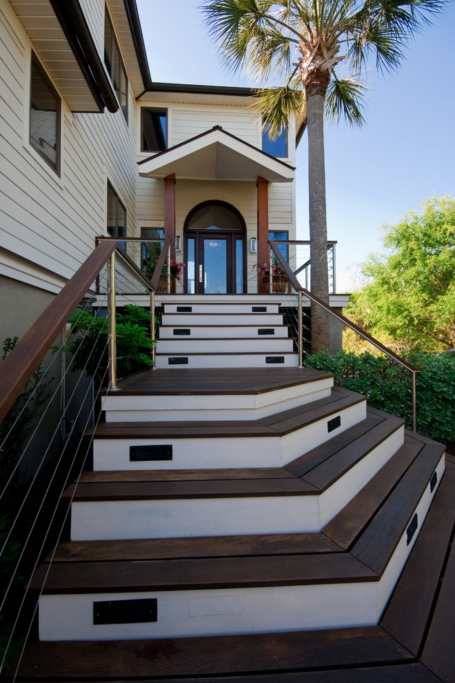 Modern Island Beach Home Front Stair Tropical Exterior   Exterior Front Stairs Designs   Curved   Simple   Front Look   Villa   1950 Bungalow