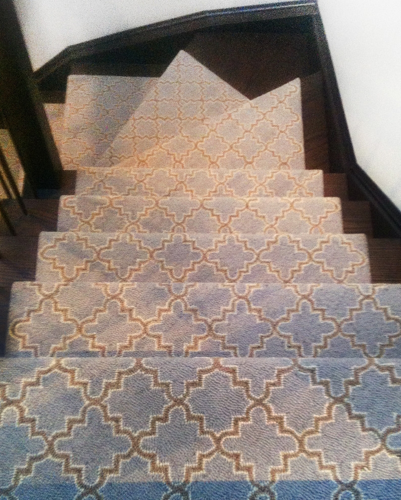 Geometric Stair Runner Ideas Modern Toronto By Floorians   Outdoor Stair Carpet Runner   Stair Rods   Anti Slip Stair   Area Rug   Painted Stairs   Wooden Stairs