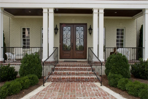 Porch Brick Front Porch Steps Curved | Stone Front Porch Steps Designs | House | Stained Concrete | Round | Stone Walkway | Flagstone